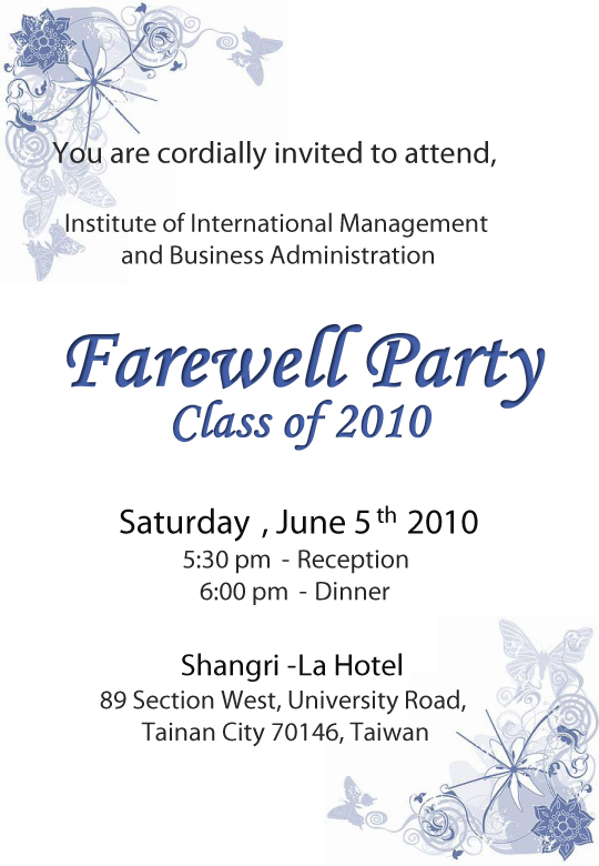 farewell card template - Goodbye Party Invitation